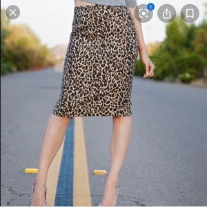J. Crew leopard print pencil skirt